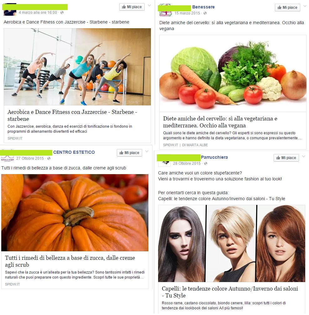 Salute e Bellezza: post su Facebook