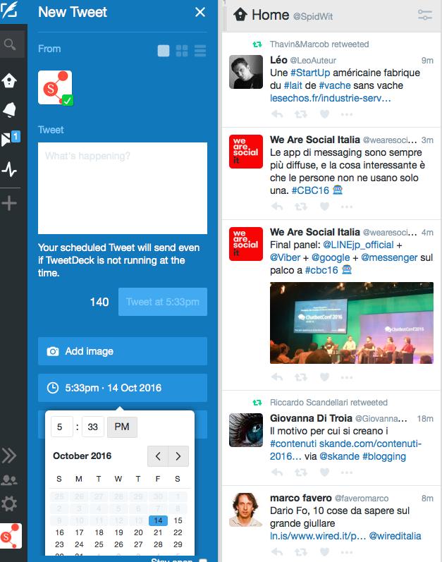 programmare con tweetdeck