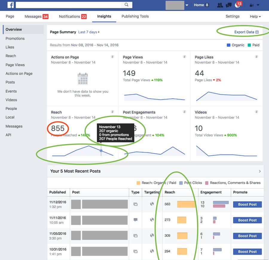 errore nelle metriche facebook
