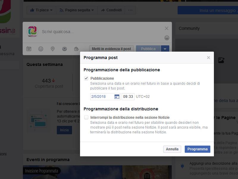 programmare post da Facebook